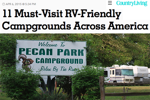 Pecan Park Campground is featured in April 2015 Country Living Magazine as a Must Visit RV Family Friendly Campground Across America