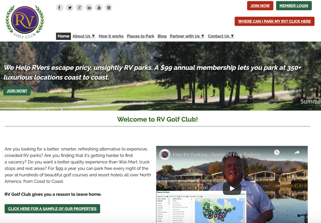 RV Golf Club Website