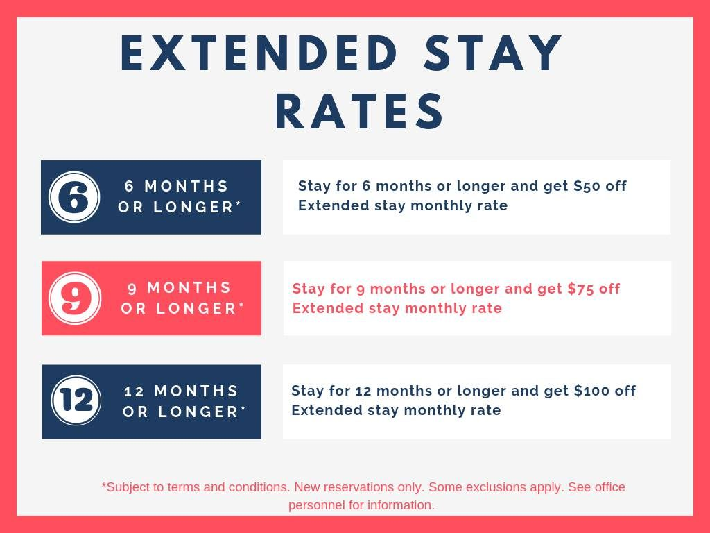 Pecan Park Extended Stay Specials