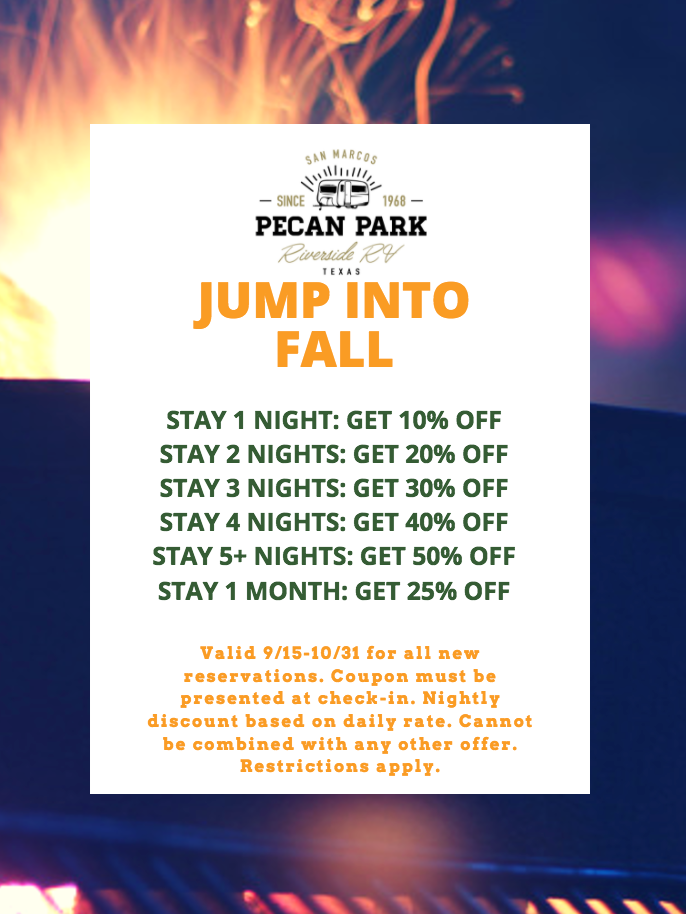 Fall Coupon RV Park in San Marcos Texas