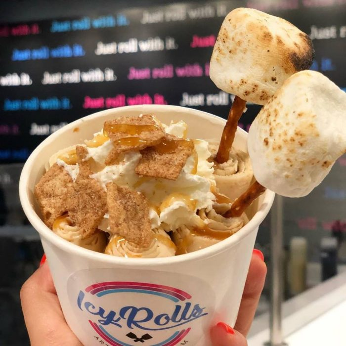 Thai-rolled Ice Cream with Marshmallows at IcyRolls
