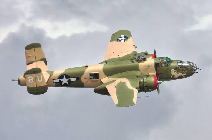 B-25 Yellow Rose Flying Over San Marcos, TX